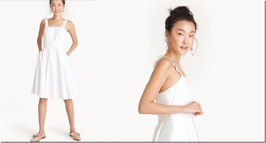 white-ruffle-strap-square-neck-dress