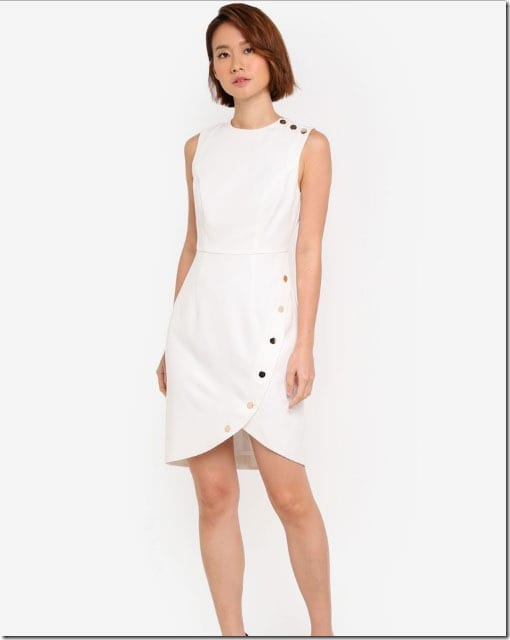 white-side-button-contrast-dress