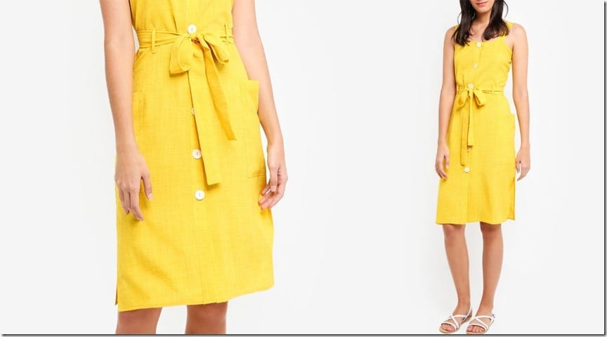 yellow-button-down-midi-dress