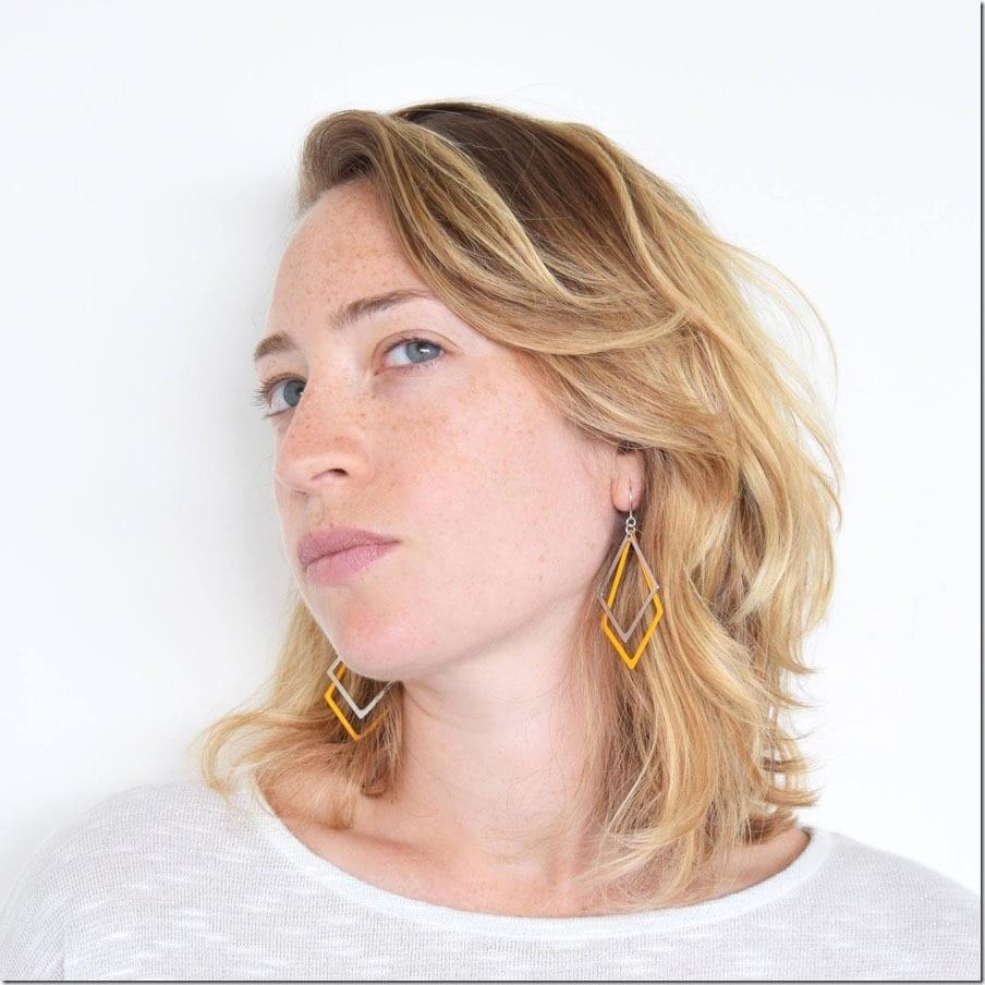 yellow-layered-statement-geometric-earrings