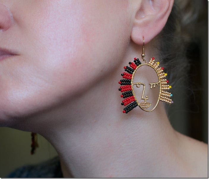black-red-abstract-face-earrings