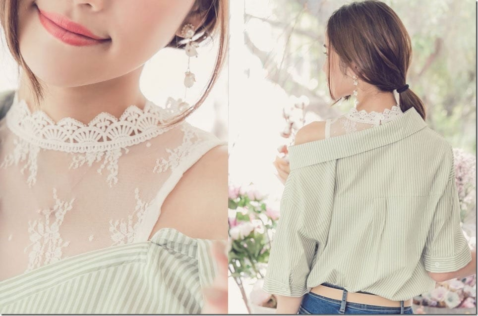 The One Cold Shoulder Blouse With Lace Detail