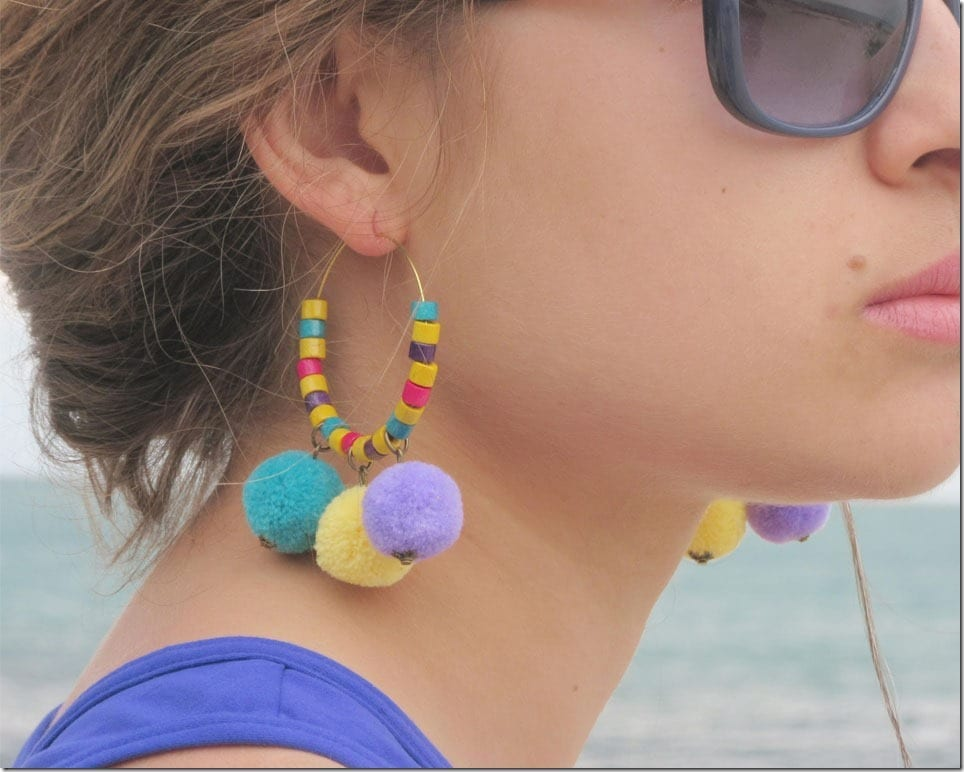 Colorful Beaded Pom Pom Hoop Earrings For Cheerful Ears