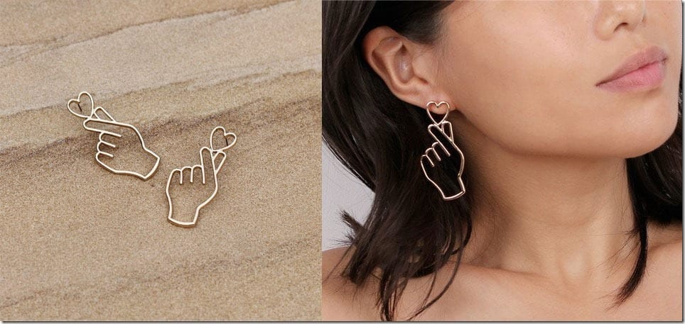 The Finger Heart Earrings For A K-pop Ear Bling Statement