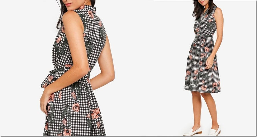 floral-gingham-midi-wrap-dress