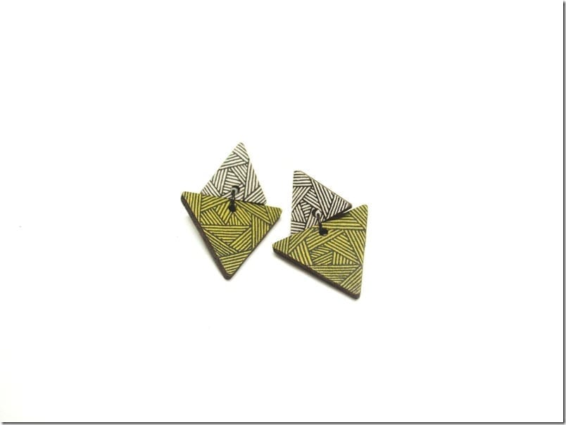 green-wooden-triangle-earrings