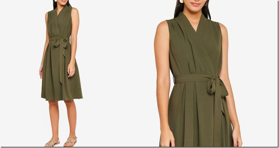 khaki-sleeveless-midi-wrap-dress
