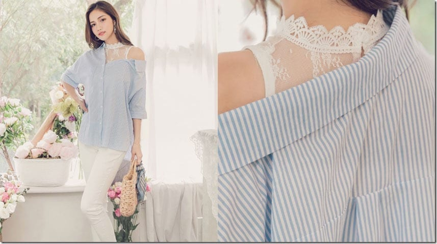 lace-stripe-blue-cold-shoulder-blouse