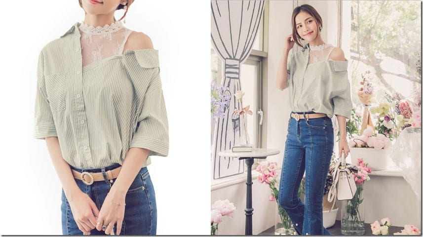 lace-stripe-green-cold-shoulder-blouse