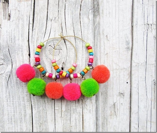 pink-beaded-pom-pom-hoop-earrings