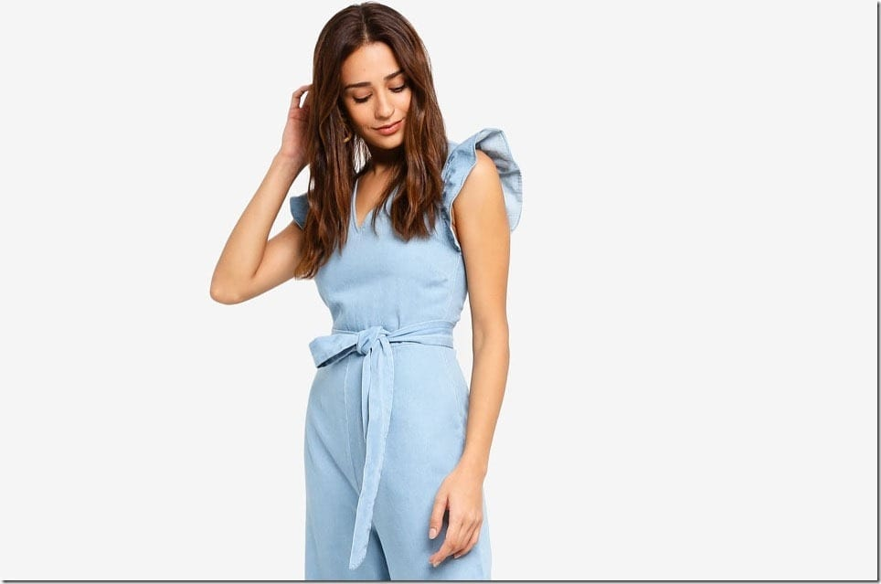 The Denim Jumpsuit Style With Charming Ruffle Sleeves