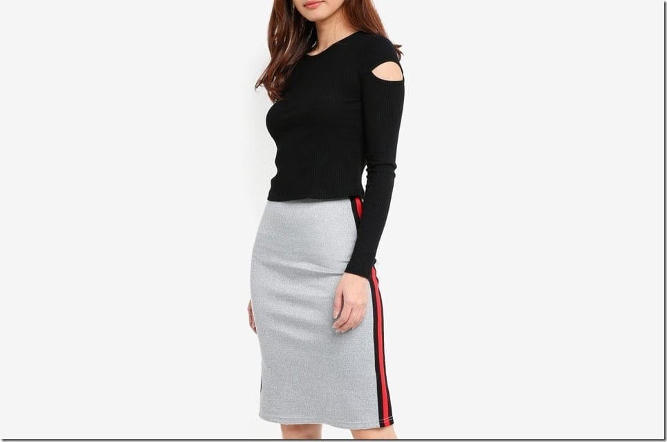 The Side Stripe Midi Skirt Style For An Athleisure Vibe