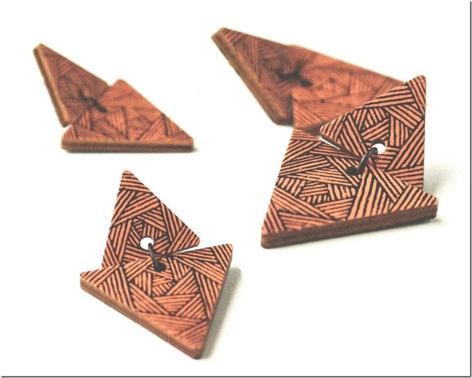 Wooden Triangle Earrings For Unique Ears