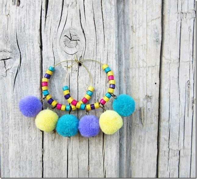 yellow-beaded-pom-pom-hoop-earrings