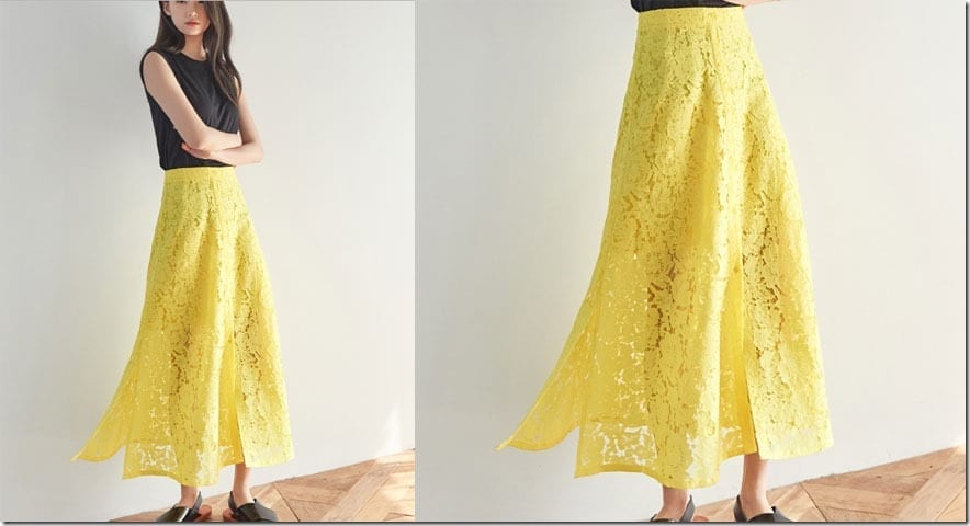 yellow-lace-button-down-midi-skirt