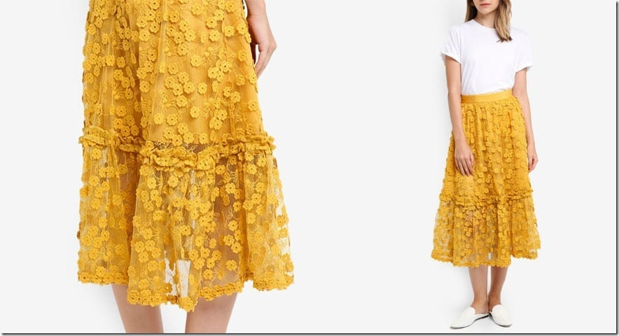 yellow-lace-flare-midi-skirt