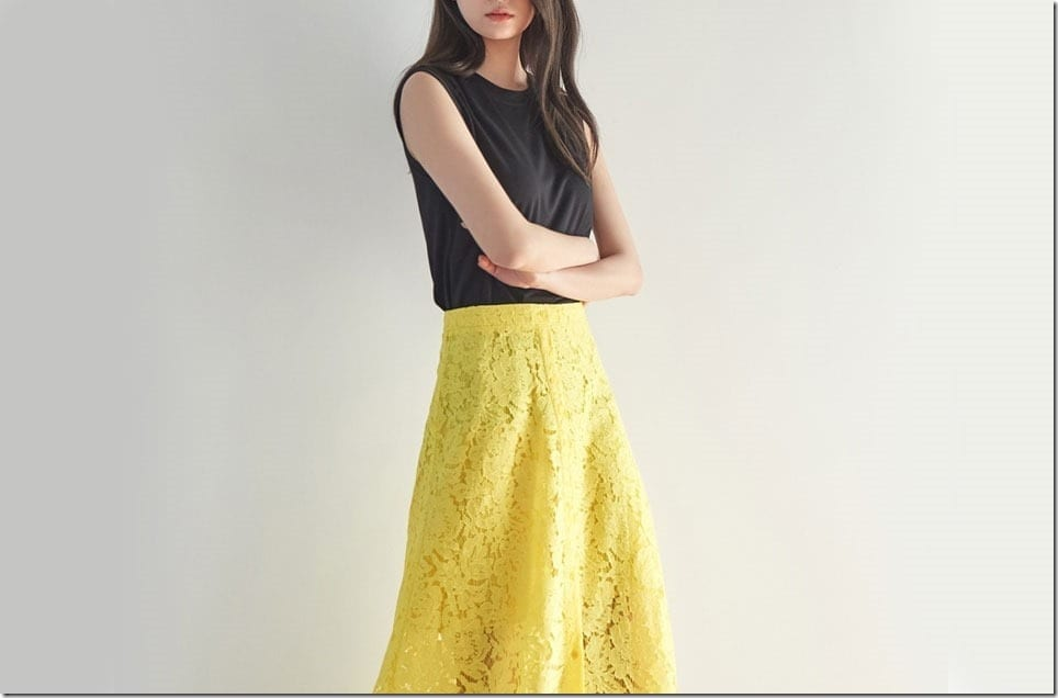 Bold Yellow Midi Lace Skirts To Set The Mood Of Your OOTD