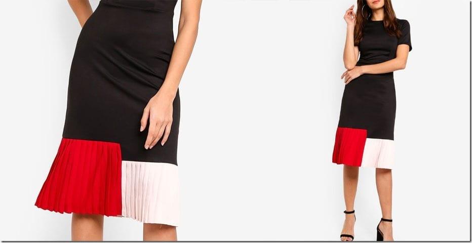 black-colorblock-pleated-midi-dress