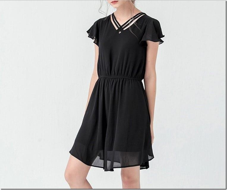 black-flutter-sleeve-dress