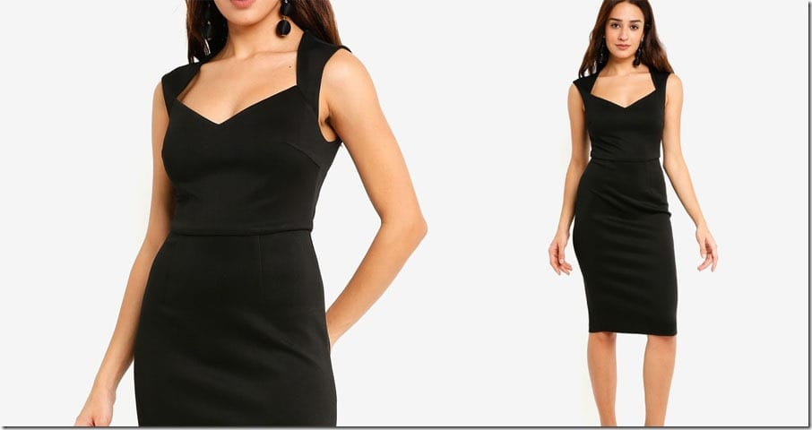 black-sweetheart-neck-bodycon-dress