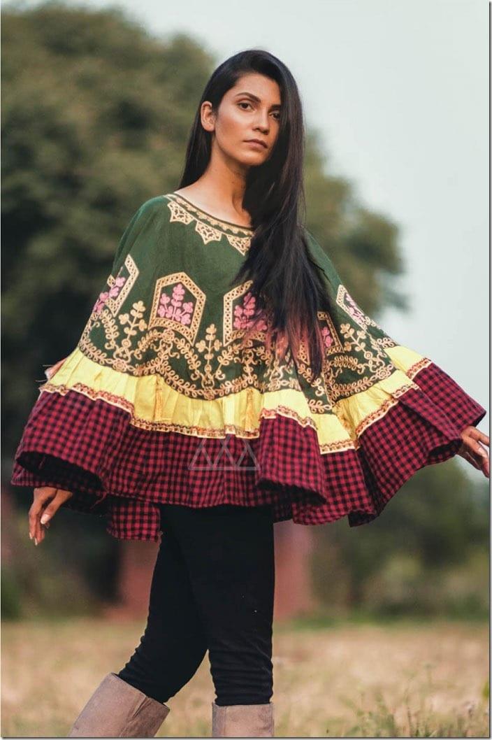 boho-style-gingham-embroidered-khadi-poncho