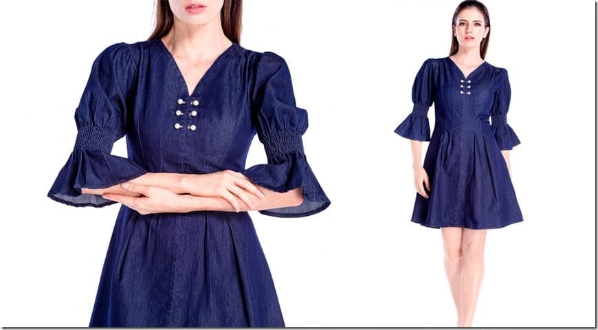deep-blue-statement-sleeve-pearl-denim-dress