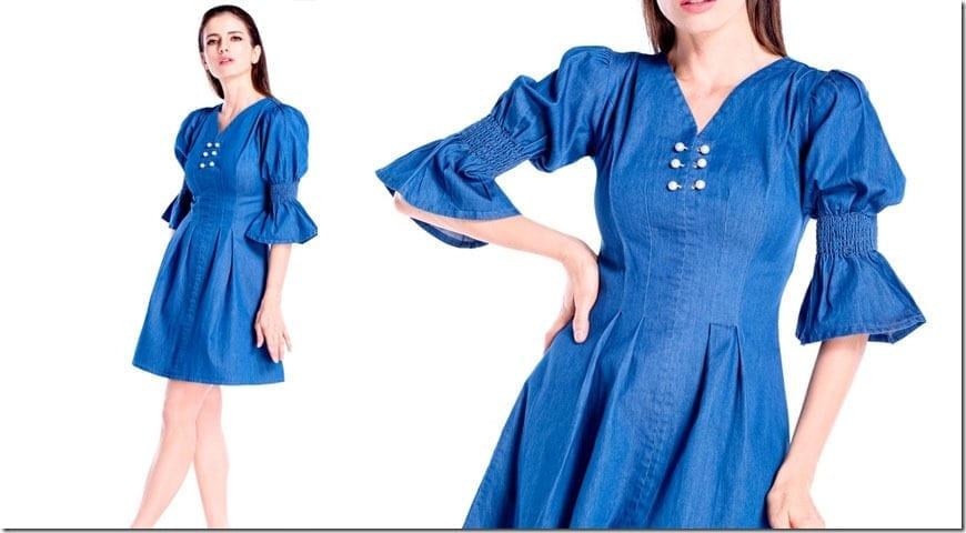 mid-blue-statement-sleeve-pearl-denim-dress