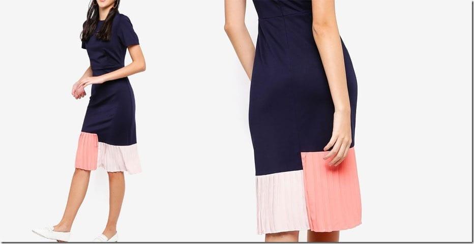 navy-colorblock-pleated-midi-dress