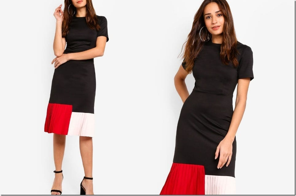 The Pleated Midi Dress With A Color Block Twist