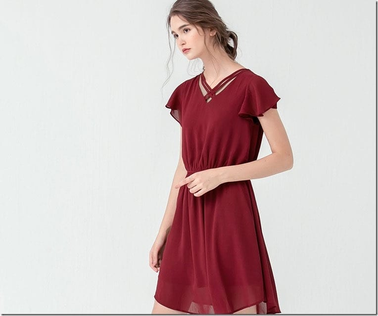 red-wine-flutter-sleeve-dress