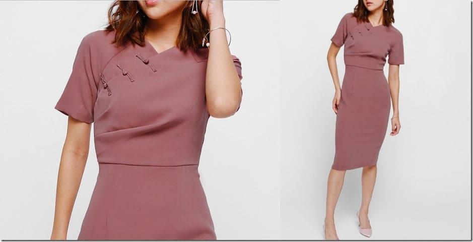 ruched-cheongsam-midi-dress