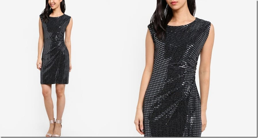 ruched-waist-silver-sequin-dress