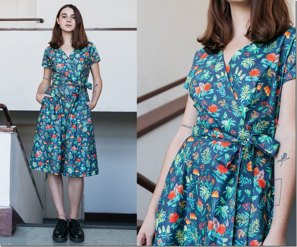 aussie-bush-flower-wrap-dress