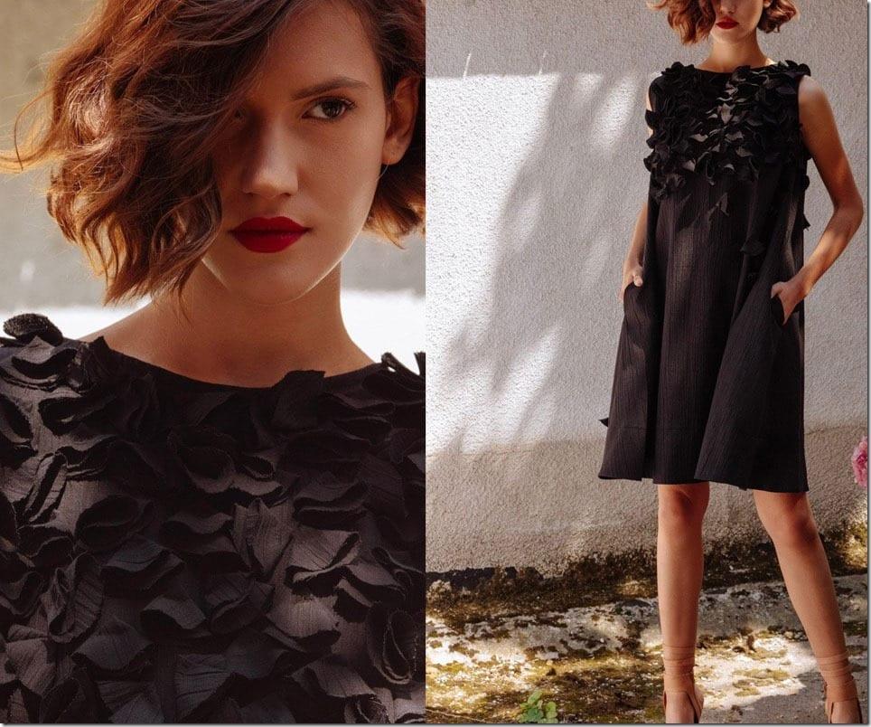 black-3d-floral-aline-dress
