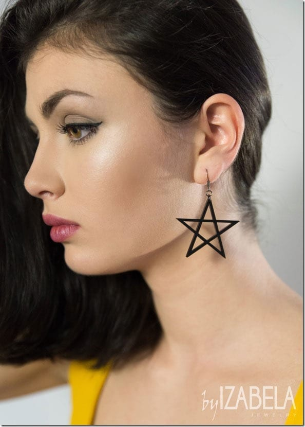 black-statement-star-earrings
