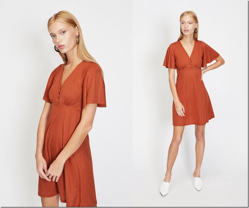brown-angel-sleeve-dress