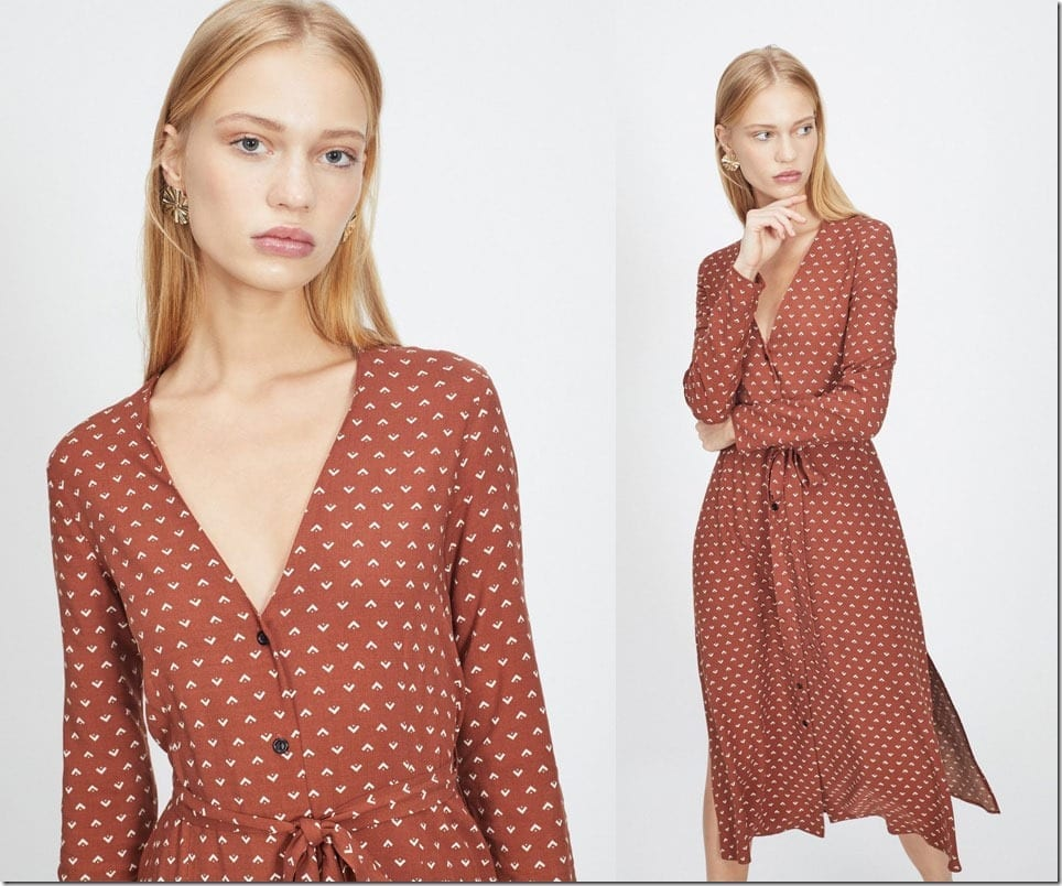 brown-arrow-print-midi-dress