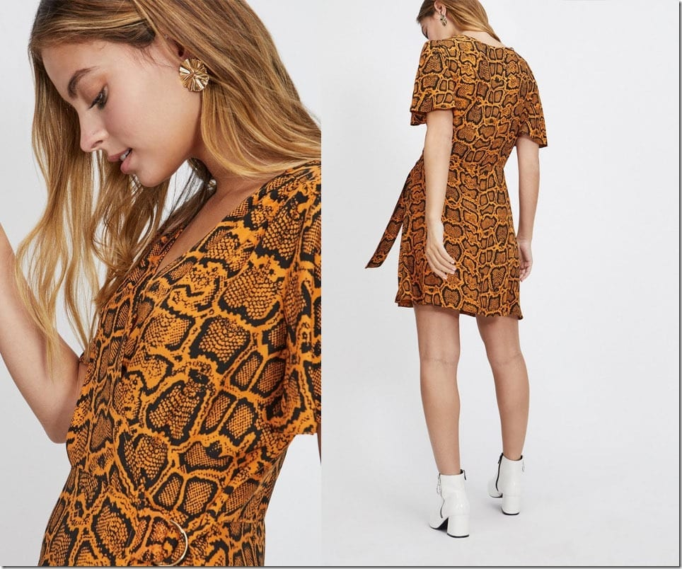 brown-snake-print-dress
