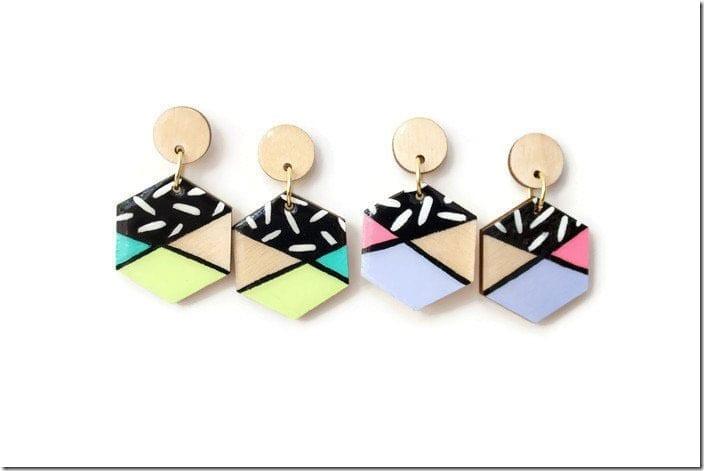 color-block-hexagon-wood-earrings