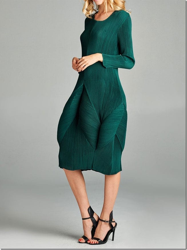 green-pleated-blooming-dress