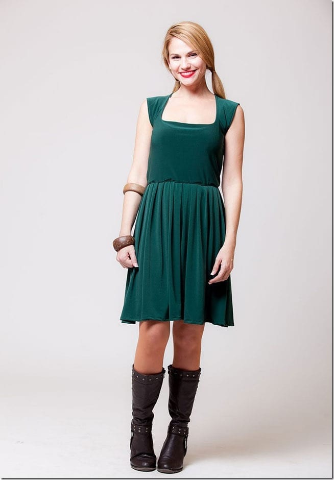green-square-neck-boho-dress