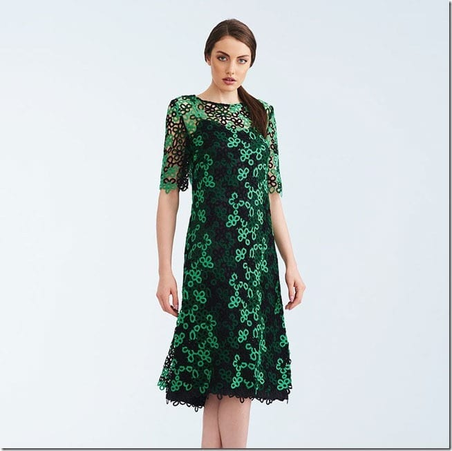 green-statement-lace-flared-dress