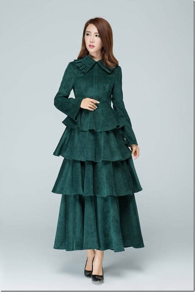 green-tiered-corduroy-dress