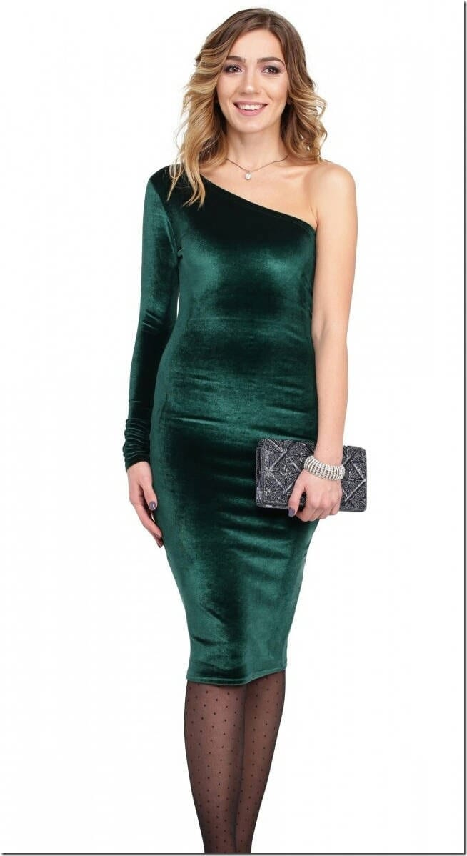 green-velvet-one-sleeve-pencil-dress