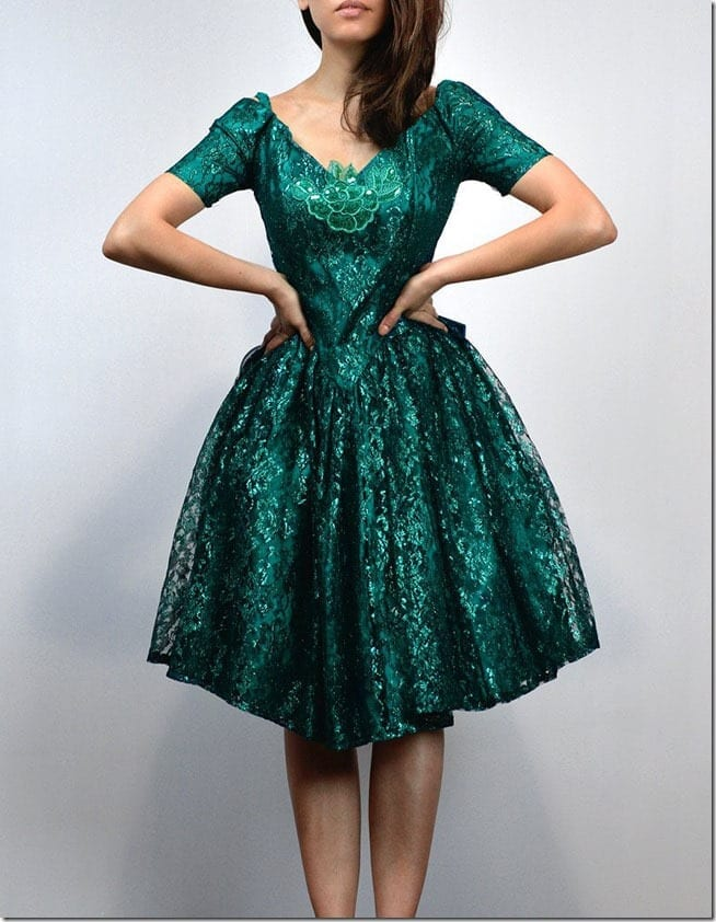 metallic-green-cold-shoulder-lace-dress