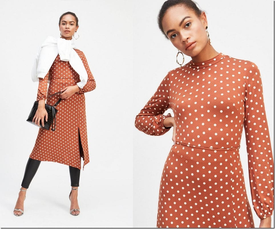 rust-polka-dot-hanky-hem-midi-dress