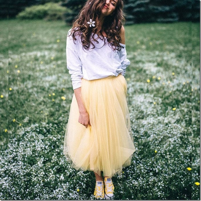 yellow-tulle-midi-skirt