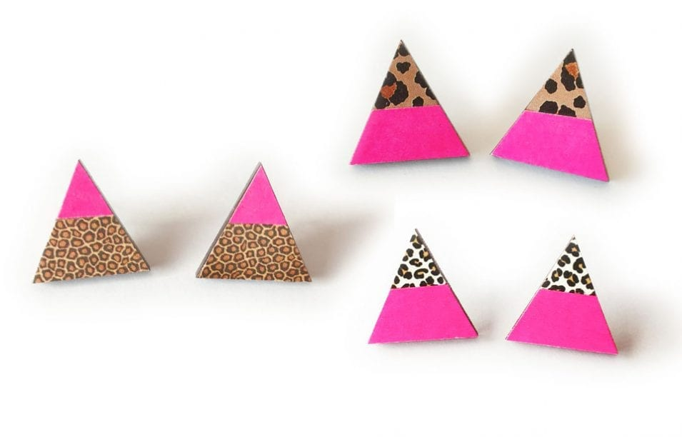 Neon Geometric Jewelry Inspiration ~ Pink Triangle Leopard Earrings