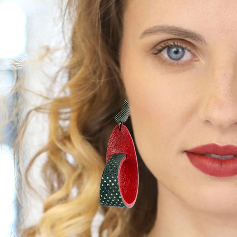 Striking Earrings To Try ~ Unique Statement Leather Swirl Earrings