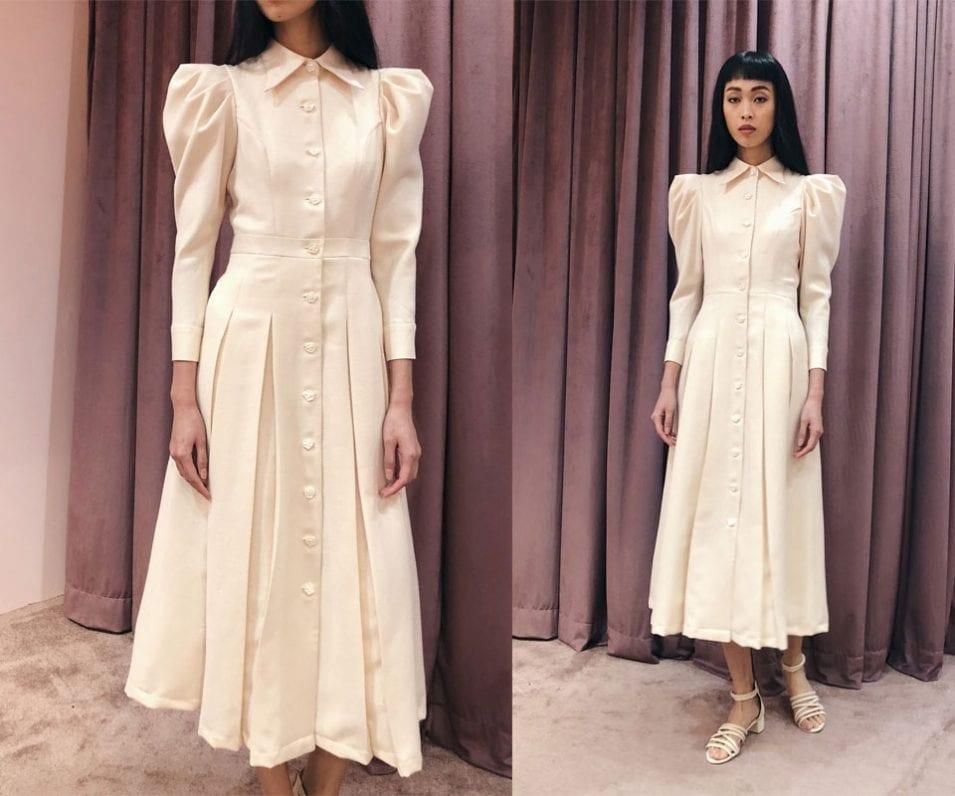 Statement Sleeve 70s Collar Midi Dress